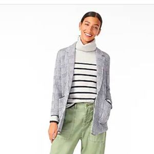 J.Crew open front sweater-blazer in plaid